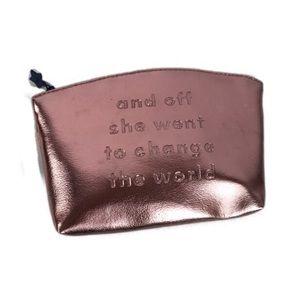 Ipsy Metallic Pink Makeup Bag